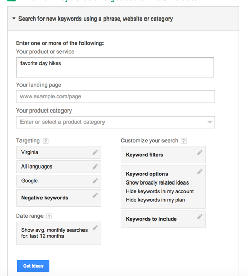 """keyword phrase and target audience location should go under """"get search volume data and trends"""""""