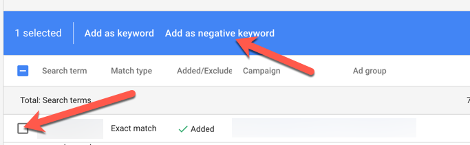 ad negative keywords in adwords